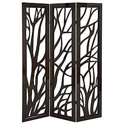 Ridge Road Décor Eclectic 3-Panel Wood Room Divider Screen in Brown