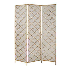 Ridge Road Décor Modern 3-Panel Metal Room Divider Screen in Gold