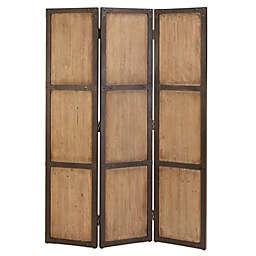 Ridge Road Décor Farmhouse 3-Panel Wood Room Divider Screen in Brown