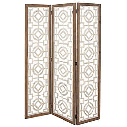 Ridge Road Décor Farmhouse 3-Panel Wood Room Divider Screen in White/Brown