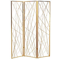 Ridge Road Décor Glam 3-Panel Metal Room Divider Screen in Gold