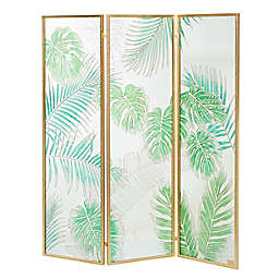Ridge Road Décor Contemporary 3-Panel Glass Room Divider Screen in Green