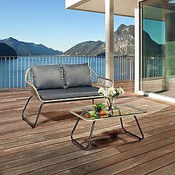 DUKAP® Lugano 2-Piece Rattan Patio Conversation Set in Black/Grey