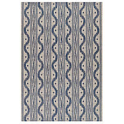 Momeni Riviera Wave Stripe 8' x 10' Indoor/Outdoor Area Rug in Blue/White