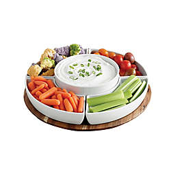 Our Table™ Hayden 6-Piece Lazy Susan Set with Light Acacia Tray in White