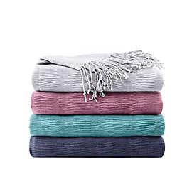 INK+IVY Reeve Ruched Throw Blanket
