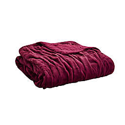 Madison Park Ruched Faux Fur Throw Blanket in Red