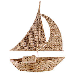 Home Essentials & Beyond 25.2-Inch Woven Water Hyacinth Sailboat Figurine in Natural