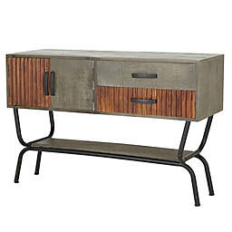 Ridge Road Décor Modern Mango Wood and Metal Console Table in Grey