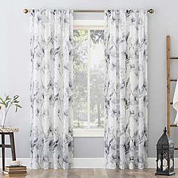 No. 918 Sura Floral Watercolor Sheer 63-Inch Rod Pocket Curtain Panel in Steel Gray (Single)