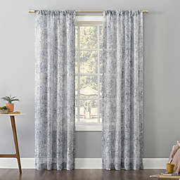 No. 918 Bisset Texture Metallic Slub Sheer 84-Inch Rod Pocket Window Curtain Panel in Silver Gray