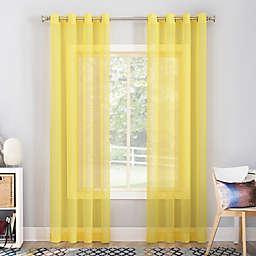No. 918 Calypso Sheer Voile 63-Inch Grommet Window Curtain Panel in Lemon Yellow (Single)