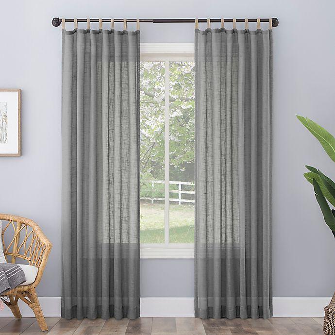 Alternate image 1 for No. 918 Ceri Linen Texture Jute Tabs Semi-Sheer Tab Top Window Curtain Panel (Single)