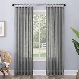 No. 918 Ceri Linen Texture Jute Tabs Semi-Sheer Tab Top Window Curtain Panel (Single)