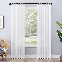 No. 918 Ceri Linen Texture Jute Tabs Semi-Sheer 96-Inch Curtain Panel in White (Single)