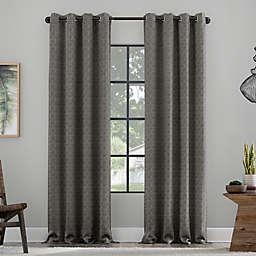 Clean Window Textured Geometric Recycled Fiber Semi-Sheer Grommet Curtain Panel (Single)