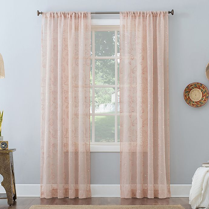 Alternate image 1 for No. 918 Delilah Embroidered Floral Semi-Sheer Rod Pocket Window Curtain Panel (Single)