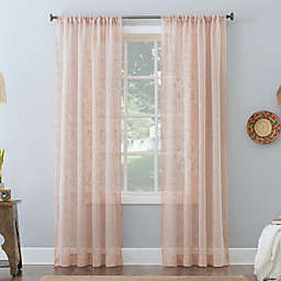 No. 918 Delilah Embroidered Floral Semi-Sheer Rod Pocket Window Curtain Panel (Single)