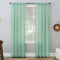 No. 918 Delilah Embroidered Floral Semi-Sheer 84-Inch Curtain Panel in Sea Glass (Single)