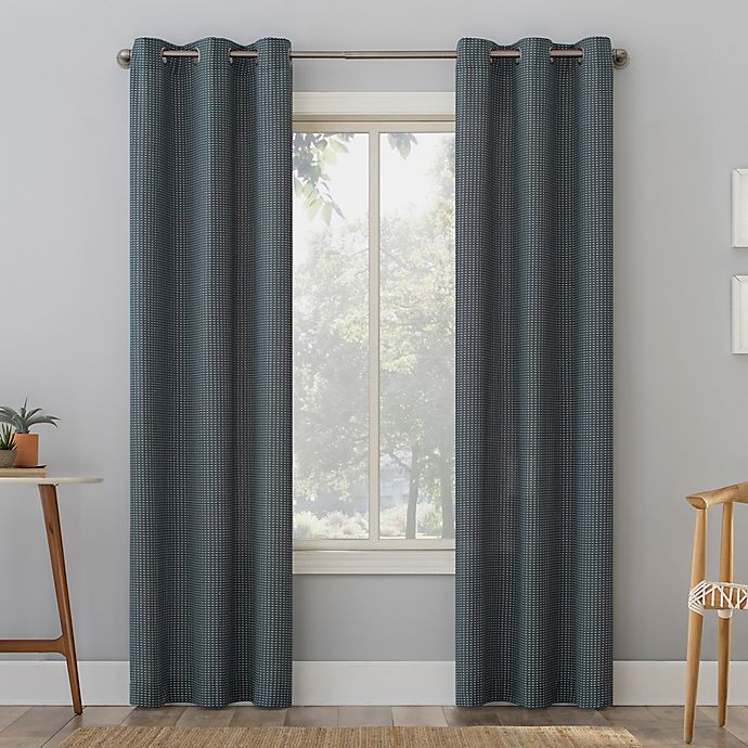 Alternate image 1 for No. 918 Elgin Contrast Stitch Cotton Blend Semi-Sheer Grommet Curtain Panel (Single)