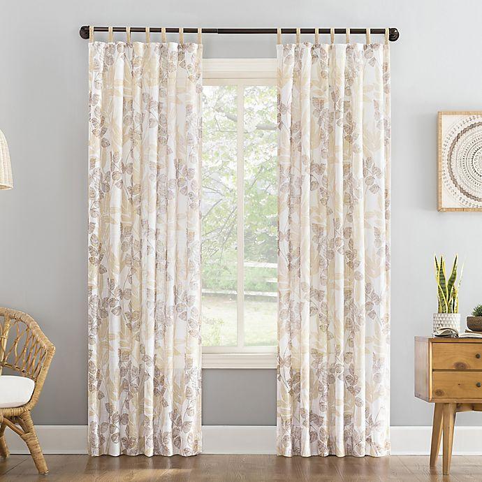 Alternate image 1 for No. 918 Mori Botanical Jute Tabs Semi-Sheer Tab Top Window Curtain Panel (Single)