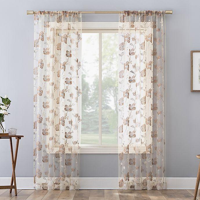 Alternate image 1 for No. 918 Olivia Cottage Floral Sheer Rod Pocket Window Curtain Panel (Single)