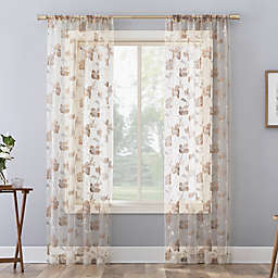 No. 918 Olivia Cottage Floral Sheer Rod Pocket Window Curtain Panel