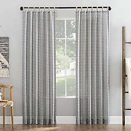 No. 918 Ostin Cascading Stripe Jute Tabs Semi-Sheer 96-Inch Curtain Panel in Gray (Single)