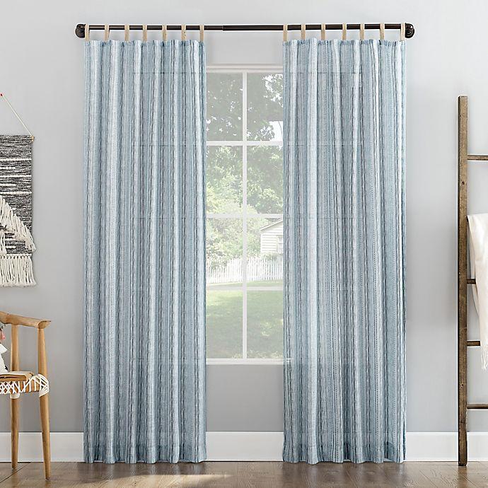 Alternate image 1 for No. 918 Ostin Cascading Stripe Jute Tabs Semi-Sheer Tab Top Curtain Panel (Single)