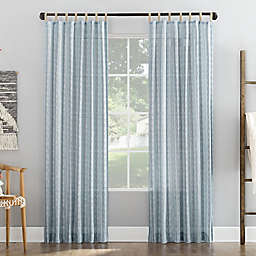 No. 918 Ostin Cascading Stripe Jute Tabs Semi-Sheer Tab Top Curtain Panel (Single)