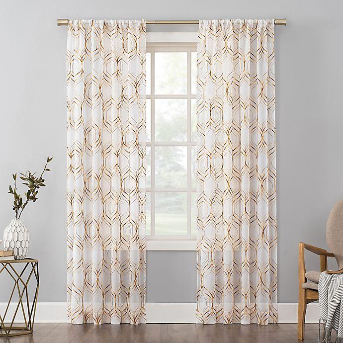 Alternate image 1 for No. 918 Raina Space Dyed Trellis Embroidery Sheer Rod Pocket Curtain Panel (Single)