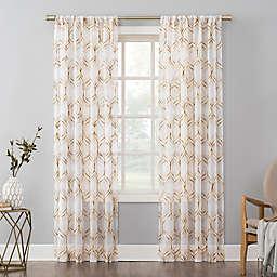 No. 918 Raina Space Dyed Trellis Embroidery Sheer Rod Pocket Curtain Panel (Single)