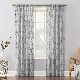 No. 918 Raina Space Dyed Trellis Sheer 84-Inch Curtain Panel in Harbor Blue (Single)