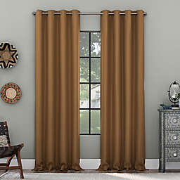 Clean Window Grid Mosaic Recycled Fiber Blackout 84-Inch Curtain Panel in Pecan (Single)