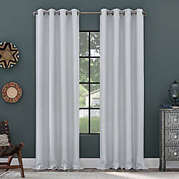 Clean Window Grid Mosaic Recycled Fiber Blackout Grommet Curtain Panel