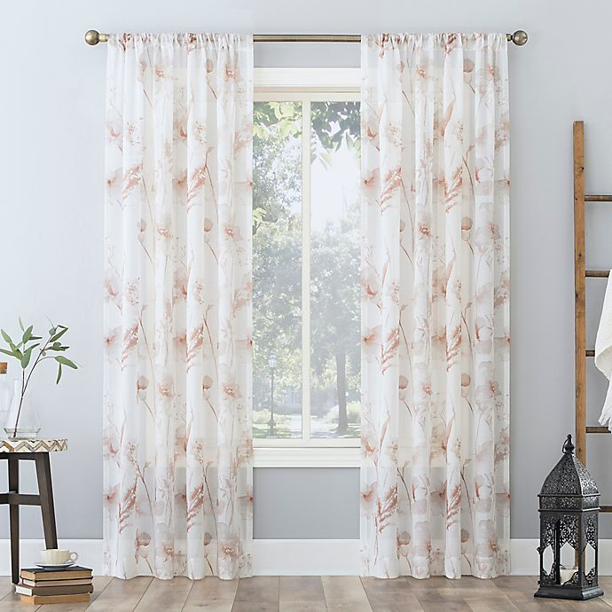 Alternate image 1 for No. 918 Sura Floral Watercolor Sheer  Rod Pocket Window Curtain Panel (Single)