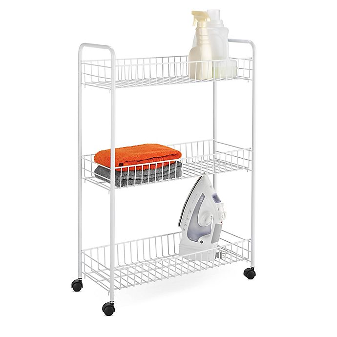 Alternate image 1 for Honey-Can-Do® 3-Tier Metal Laundry Cart in White