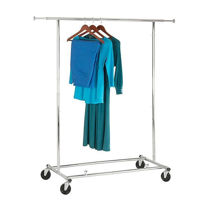 Alternate image 1 for Honey-Can-Do® 74-Inch Collapsible Commercial Rolling Garment Rack in Chrome