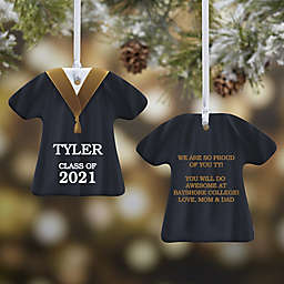 3-Inch Personalized 2-Sided Graduation Gown Ceramic Christmas Ornament in Black