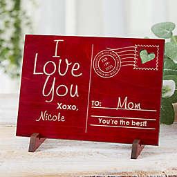 Sending Love To Mom Wood Postcard in Red