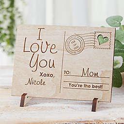 Sending Love To Mom Wood Postcard in White