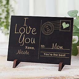 Sending Love To Mom Wood Postcard in Black