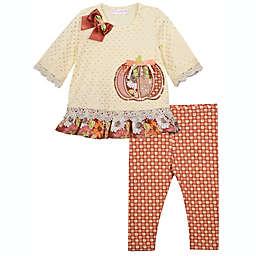 Bonnie Baby Size 6-9M 2-Piece Harvest Pumpkin Shirt and Legging Set in Cream