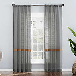 No. 918 Elsy Stripe Semi-Sheer Rod Pocket Window Curtain Panel (Single)