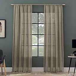 Clean Window Subtle Foliage Recycled Fiber Sheer 96-Inch Curtain Panel in Mushroom (Single)