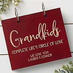 Grandkids Personalized Wood Photo Album in Red Poplar