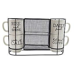 Boston Warehouse® 4-Piece Stacking Mug and Rack Set