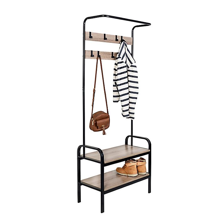 Alternate image 1 for Honey-Can-Do® Entryway Organizer with Hooks and Shoe Storage in Wood/Black