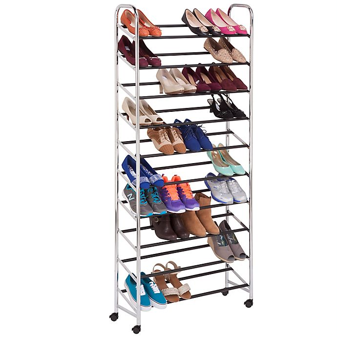 Alternate image 1 for Honey-Can-Do® 10-Tier Rolling Shoe Tower in Chrome
