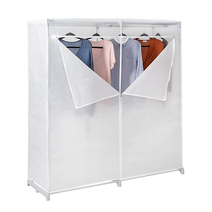 Alternate image 1 for Honey-Can-Do® 60-Inch Cloth Storage Wardrobe in White